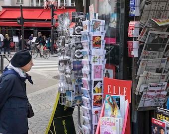 Paris photography news stand postcards woman looking newspapers baret fine art print