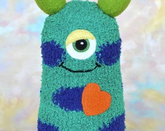 Handmade Sock Monster Doll, Plush Stuffed Art Toy, Hug Me Monster, Personalized Tag, Green, Blue, Purple, Orange, 10 inch