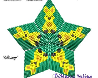 Beading Pattern/Tutorial Easter BUNNY 3D PEYOTE STAR + Basic Instructions
