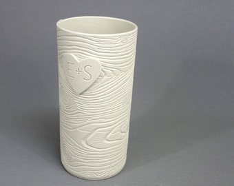 Carved in a Heart: White Porcelain Wood Grain Vase - Made To Order