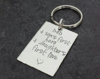 Personalized Dad Key Chain - Fathers Day Gift - Graduation Gift - Hand Stamped Sterling Silver - Custom Keychain - Gifts for Men