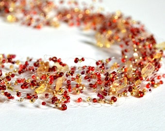 Red and Gold Citrine Necklace, Wedding Jewelry, Seed Bead Jewellery