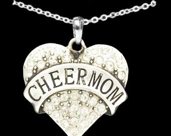 Cheer Mom Rhinestone Heart Necklace