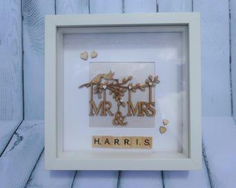 Personalised Wedding Frame | Personalised Frame | Mr & Mrs | Anniversary Frame  | Scrabble | Bride | Groom | His | Hers | Married