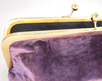 Purple Velvet Clutch Purse with Kiss-Lock Frame, 8-inch