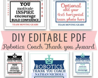 Editable PDF Robotics Coach Mentor Thank You Certificate Award Template in 2 color options Letter Size diy blank photo options included