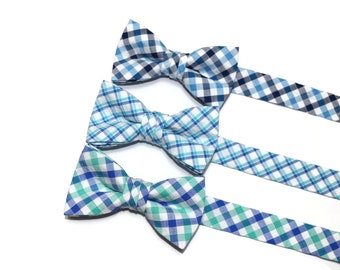Boys Plaid Seersucker Bow Tie~Boys Bow Tie~Pre-tied Bow Tie~Cotton Bow Tie~Church Tie~Bow Tie~Wedding~Ring Bearer~Blue-Navy-Turquoise~Green
