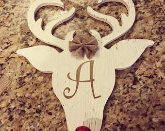 Christmas door hanger. Made to order with initial.