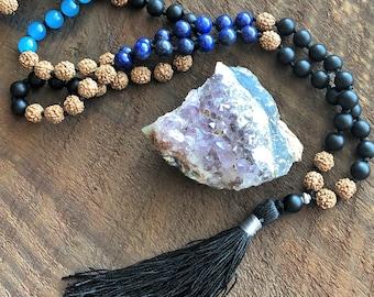 Lapis Lazuli Onyx Jade Mala, rudraksha 108 Prayer Beads, Healing Meditation Necklace, Yoga Bracelet, Chakra Necklace, Buddhist Bracelet