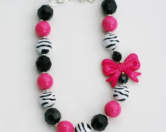 Hot Pink Zebra with Bow Gumball necklace, Girls chunky zebra necklace, girls zebra gumball necklace, hot pink zebra necklace