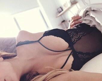 Black lace bodysuit HONEY