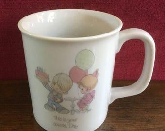 "Precious Moments ""Special Day"" Mug, Vintage Precious Moments Mug, Birthday Mug, Whimsical Mug, Vintage Mug, 1984, Coffee Mug, Tea Mug"