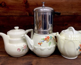 3 Hall China Co. Enterprise Aluminum Co Drip-O-Lator Coffee Pots and Drip Coffee Maker 1930's