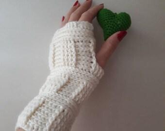 Ivory gloves, Wedding gloves, Ivory crochet Fingerles Gloves-valentine's day Gift, Ivory gloves, Ivory crochet gloves, knitting gloves