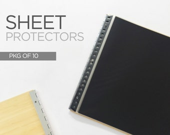 SHEET PROTECTORS - Archival Plastic Sleeves for Screwpost Portfolios - Available in Landscape or Portrait orientation - Pack of 10