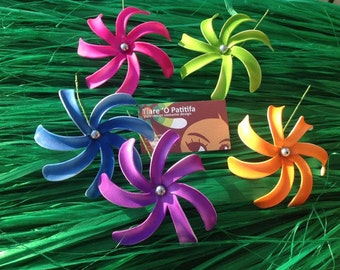 Solid Color Tiare Flower Pick.