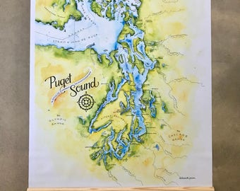 Giant Puget Sound Map Illustrated Old School Large Map Washington Oversize Jumbo Vinyl Map Seattle Wall Map Salish Sea Wall Art Poster