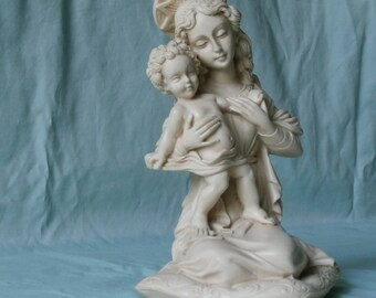 Collectible, Blessed Mother & Jesus, Statue, Madonna and Child, Vintage, Home Decor