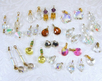 LOT 15 Pr Earring Dangles 30 Pc Faceted Glass Crystal Dangle Earrings Charms Vintage & New Costume Jewelry Yellow Pink Purple Amber Crafts