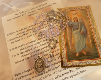 St. Gabriel The Archanel Chaplet~Rosary Chaplet,The Annunciation,Radio Broadcasters, Messengers, Postal Workers, Clerics, Diplomats, Stamps