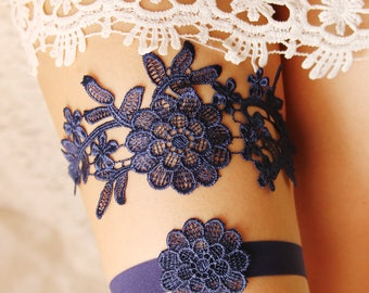 Bridal Garter Wedding Garter Set - Navy Blue Garter Lace Garter - Something Blue Wedding Gift For Bride