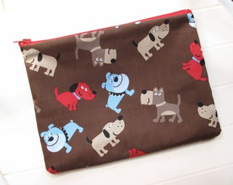 Brown Pouch Toiletry bag Toiletry organizer for dogs with dogs
