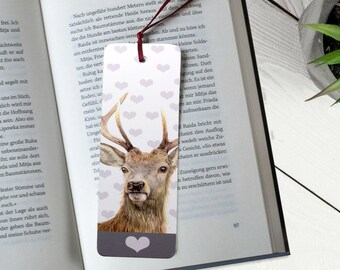 Deer Paper Bookmark, wildlife animal bookmark, woodland stag, reading accesories, bookworm, inexpensive gift, country style gift
