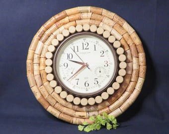 Cork Board with Clock, Wall Art, Bulletin Board