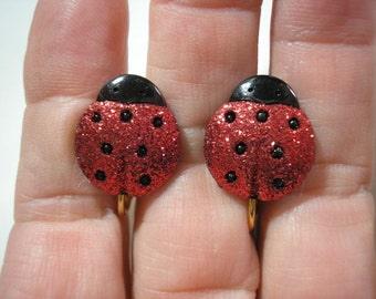 """Play Earring - Clip on - Ladybug - Glitter Red - 5/8"""""""