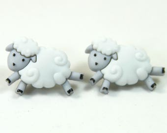 Sheep earrings, Sheep studs, Farm animal earrings, Animal studs, Wool earrings