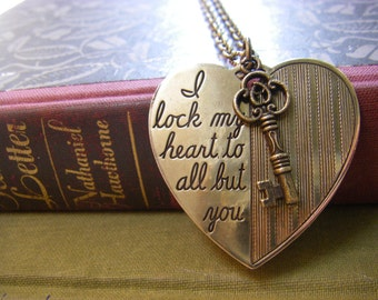 Heart Pendant, Heart necklace, Fiance Gift, Valentine Jewelry, Romantic jewelry, I Lock my heart to all buy you, heart and key
