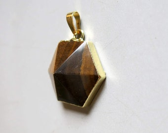 Tiger- Eye Hexagon Pendant with Golden Edge - B1266