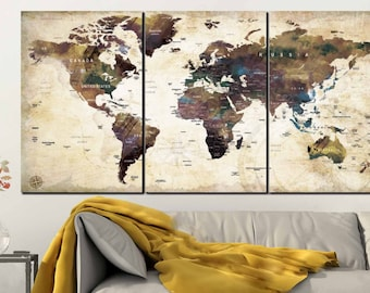 World map canvas etsy quick view gumiabroncs Image collections