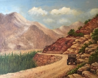 Vintage Landscape Painting of Model T Driving Through Desert Canyon