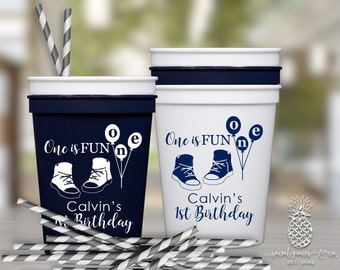 1st Birthday | Customized Plastic Party Favor Cups | social graces and Co