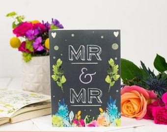 Mr And Mr Card - Wedding Card - Chalkboard Card - Same Sex Wedding Card - Card For Marriage - Congratulations Card - Civil Partnership Card