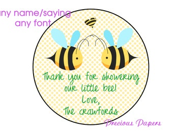 Personalized PRINTED bumble bee baby shower sticker polka dot bee baby shower favor stickers bee labels