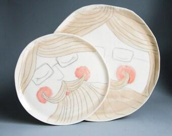 porcelain plate set, ceramic plates, pottery plates, face illustration, delicate porcelain dish, breakfast set, breakfast bowl and plate set