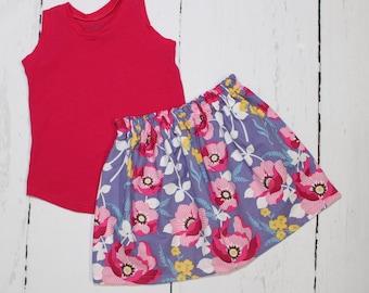 Atrium Floral Skirt in Fuchsia, Girls Cotton Skirt, Monarch Floral Print Girls Skirt, Knee Length Skirt, Toddler, Baby Skirt, Basics