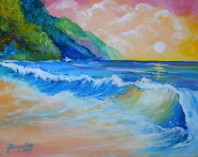 Kee beach art, Kauai kee beach, kauai na pali art, ocean waves, kauai beach prints, north shore Kauai, Kauai seascape art, Hawaii art