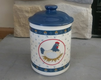 Country Hen Canister, Ceramic Canister, Cream Canister, Chicken Jar, Folk Art Canister, Farmhouse Canister, Covered Jar, Cookie Jar, Vintage