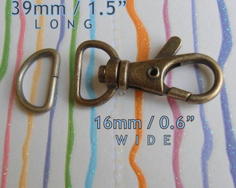 1.5 inch / 39mm Extra Wide Swivel Clips with Matching D Ring in Antique Brass Finish - Choose from 240, 600, and 1500 sets