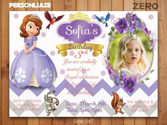 Princess Sofia Bday Card Sofia The First Personalize Invitation