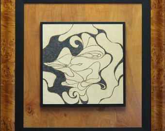 Abstract Square / Magnificent Framed Original 25x25 / SOLAR ART – Solar Pyrography - Solar Etching - Woodburned Art