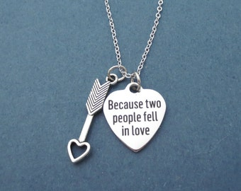 Because two people fell in love, Cupid's arrow, Heart, Silver, Necklace, Birthday, Best friends, Lovers, Valentine, Gift, Jewelry