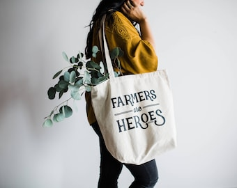Farmers Are Heroes Tote Bag Design • Farmers Market Cotton Canvas Tote Bag • Hand Printed Vintage Typographic Tote •FREE SHIPPING