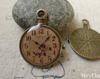 6 pcs of Antique Bronze Enamel Clock Charms Size  25x32mm A6447