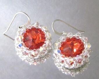 Beaded Padparadscha Rivoli Swarovski Crystal Earrings