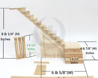 Dollhouse 1:12 Scale Miniature Hand Carved Left Landing Staircase With Stock Room [Unfinished]