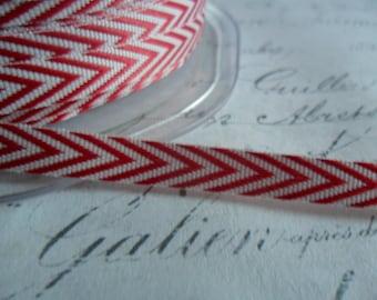 Twill Red and White 1/4  inch Woven Chevron Ribbon Trim